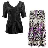 Sets Satin Mini Pleat - Half Sleeve V-Neck - Solid Black - Reptile Floral-Purple Skirt