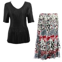 Sets Satin Mini Pleat - Half Sleeve V-Neck - Solid Black - Reptile Floral-Red Skirt