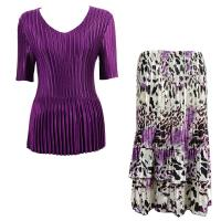 Sets Satin Mini Pleat - Half Sleeve V-Neck - Solid Purple - Reptile Floral-Purple Skirt