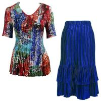 Sets Satin Mini Pleat - Half Sleeve V-Neck - Abstract Blue-Red - Royal Skirt