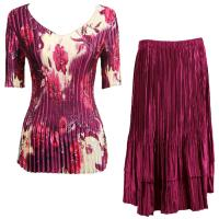 Sets Satin Mini Pleat - Half Sleeve V-Neck - Rose Floral-Berry - Ruby Skirt
