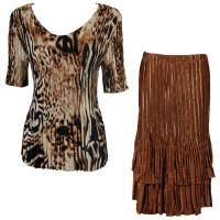 Sets Satin Mini Pleat - Half Sleeve V-Neck - Bronze Leopard - Brass Skirt