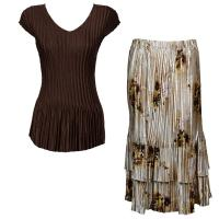Sets Satin Mini Pleat - Cap Sleeve V Neck/Skirt - Solid Dark Brown - Beige Floral Skirt