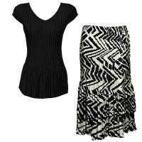Sets Satin Mini Pleat - Cap Sleeve V Neck/Skirt - Solid Black - Block Print Black-Ivory
