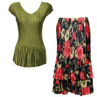 Sets Satin Mini Pleat - Cap Sleeve V Neck/Skirt - Solid Olive - Coral Blossoms on Black Skirt