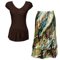 Sets Satin Mini Pleat - Cap Sleeve V Neck/Skirt - Solid Dark Brown - Earthtone Abstract Skirt