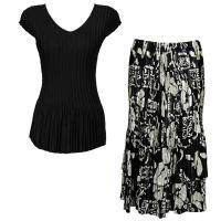 Sets Satin Mini Pleat - Cap Sleeve V Neck/Skirt - Solid Black - Ivory Floral on Black Skirt