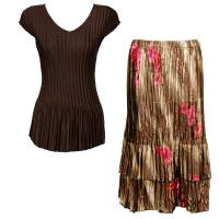 Sets Satin Mini Pleat - Cap Sleeve V Neck/Skirt - Solid Dark Brown - Marble Floral-Taupe Skirt