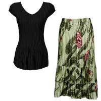 Sets Satin Mini Pleat - Cap Sleeve V Neck/Skirt - Solid Black - Multi Green Floral Skirt
