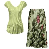 Sets Satin Mini Pleat - Cap Sleeve V Neck/Skirt - Solid Celery - Mult Green Floral Skirt