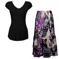 Sets Satin Mini Pleat - Cap Sleeve V Neck/Skirt - Solid Black - Raspberry Sherbet Abstract Skirt