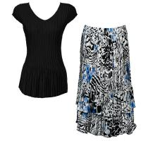 Sets Satin Mini Pleat - Cap Sleeve V Neck/Skirt - Solid Black - Reptile Floral-Blue Skirt