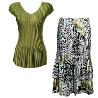 Sets Satin Mini Pleat - Cap Sleeve V Neck/Skirt - Solid Olive - Reptile Floral-Green Skirt
