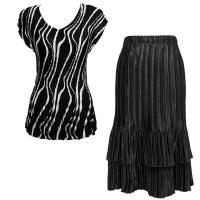 Sets Satin Mini Pleat - Cap Sleeve V Neck/Skirt - Ribbon Black-White - Black Skirt