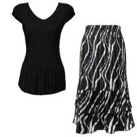 Sets Satin Mini Pleat - Cap Sleeve V Neck/Skirt - Solid Black - Ribbon Black-White Skirt