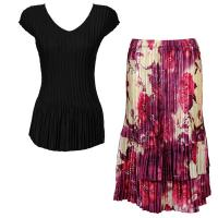 Sets Satin Mini Pleat - Cap Sleeve V Neck/Skirt - Solid Black - Rose Floral-Berry Skirt