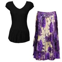 Sets Satin Mini Pleat - Cap Sleeve V Neck/Skirt - Solid Black - Rose Floral-Purple Skirt