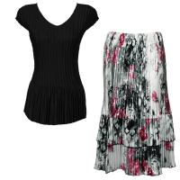 Sets Satin Mini Pleat - Cap Sleeve V Neck/Skirt - Solid Black - White-Black-Pink Skirt