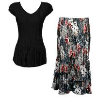 Sets Satin Mini Pleat - Cap Sleeve V Neck/Skirt - Solid Black - White-Black-Red Abstract Skirt