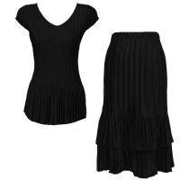 Sets Satin Mini Pleat - Cap Sleeve V Neck/Skirt - Solid Black
