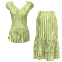Sets Satin Mini Pleat - Cap Sleeve V Neck/Skirt - Solid Celery