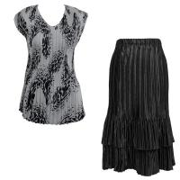Sets Satin Mini Pleat - Cap Sleeve V Neck/Skirt - White-Black Swirl Dots - Black Skirt