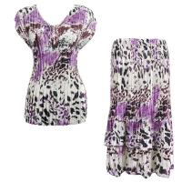 Sets Satin Mini Pleat - Cap Sleeve V Neck/Skirt - Repile Floral-Purple