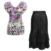 Sets Satin Mini Pleat - Cap Sleeve V Neck/Skirt - Reptile Floral-Purple - Black Skirt