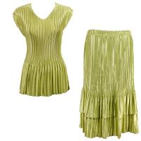Sets Satin Mini Pleat - Cap Sleeve V Neck/Skirt - Solid Leaf Green