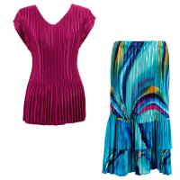 Sets Satin Mini Pleat - Cap Sleeve V Neck/Skirt - Solid Magenta - Half Moon Blue-Yellow Skirt