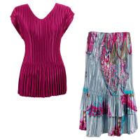 Sets Satin Mini Pleat - Cap Sleeve V Neck/Skirt - Solid Magenta - Red Swirl on Silver