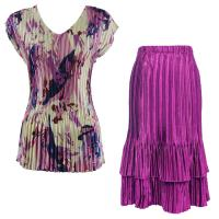 Sets Satin Mini Pleat - Cap Sleeve V Neck/Skirt - Abstract Floral Raspberry-Navy - Orchid Skirt