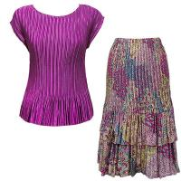 Sets Satin Mini Pleat - Cap / Skirt  - Solid Orchid - Paisley Magenta-Teal Skirt
