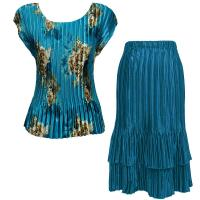 Sets Satin Mini Pleat - Cap / Skirt  - Taupe on Teal - Teal Skirt