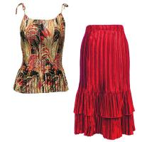 Sets Satin Mini Pleat - Spaghetti Tank - Black-Gold-Red Print - Red Skirt