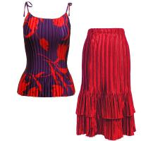 Sets Satin Mini Pleat - Spaghetti Tank - Red Floral on Purple - Red Skirt