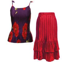 Sets Satin Mini Pleat - Spaghetti Tank - Red Poppies on Purple - Red Skirt