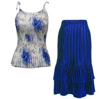 Sets Satin Mini Pleat - Spaghetti Tank - Roses-Blue on White - Royal Skirt