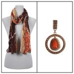 Scarves - Crinkle Giraffe Abstract 2117 w/ Pendant