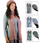 Scarf & Hat Set - Knit Sequined 5007