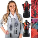 Silky Dress Scarves - Leather Tassel 9001