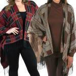 C Ruana Capes - Plaid with Fringe 318