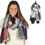 Oblong Scarves - Waffle Texture Checkered 8842