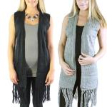 Vests - Mid-Length Knit Tasseled 8643