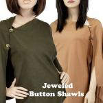 Cashmere Feel Button Shawls (Jeweled Buttons)