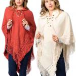 Hooded Poncho - Solid w/ Lace Up 90B7
