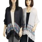 Ruffled Embroidered Kimono - Cotton Feel 1353