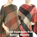Plaid Cashmere Feel Button Shawls