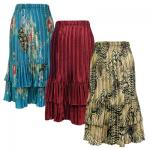 Satin Tiered Mini Pleat Skirts