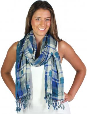 Oblong Scarves - Long Plaid Reversible 1111*